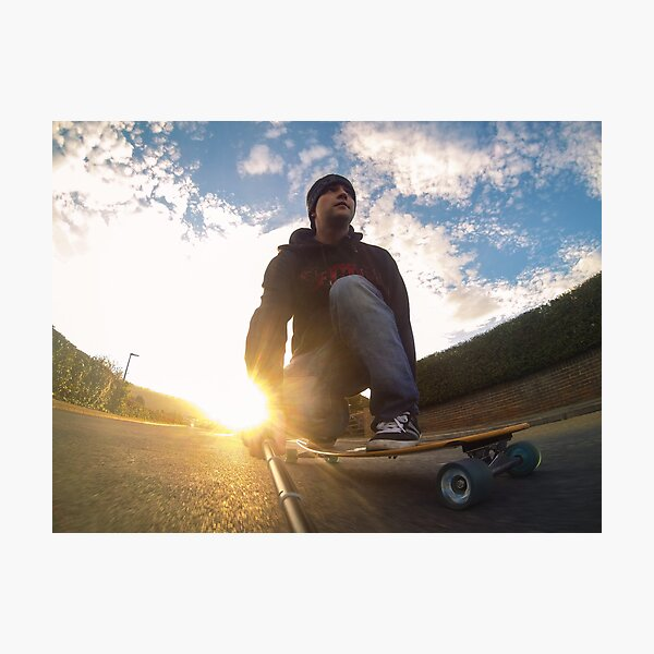 Sunset Longboarding with my GoPro Camera Photographic Print