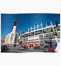Busy street scene in Blackpool Poster