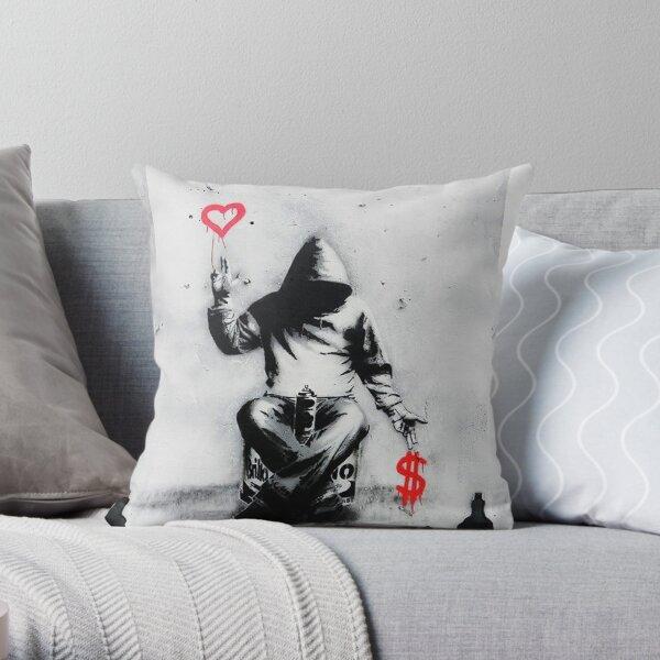 Banksy Love Over Money Street Art emblématique Coussin