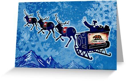 California flag Christmas Santa sleigh by artisticattitud