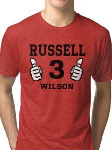 Russell Wilson Seattle Seahawks Quarterback No. 3 Tri-blend T-Shirt