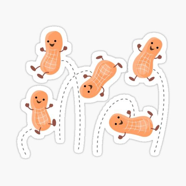 Cute peanuts jumping cartoon illustration Sticker