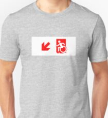 Accessible Means of Egress Icon Emergency Exit Sign, Left Hand Diagonally Down Arrow Unisex T-Shirt