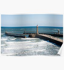 Whitby harbour outer breakwaters Poster