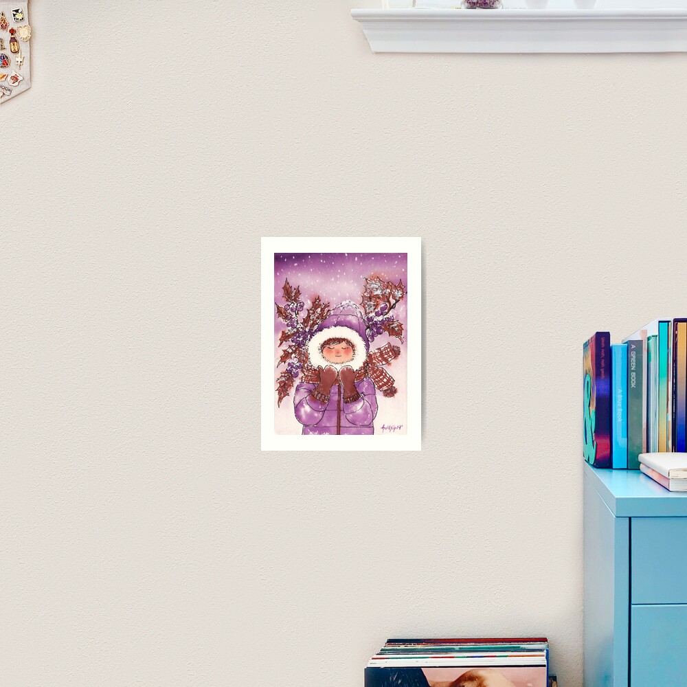 The Girl with Warm Winter Clothes Art Print
