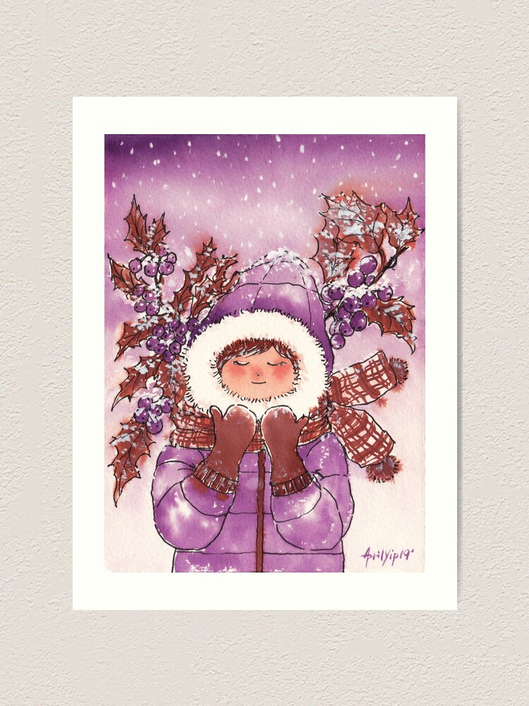 Alternate view of The Girl with Warm Winter Clothes Art Print
