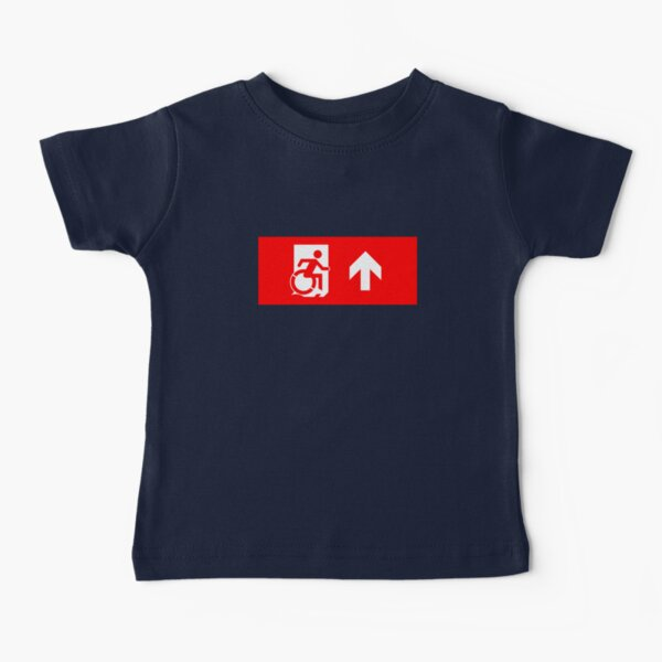 Accessible Means of Egress Icon Emergency Exit Sign, Right Hand Up Arrow Camiseta para bebés
