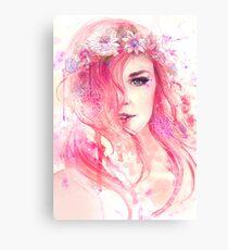 Pink Floral Watercolor Portrait Canvas Print