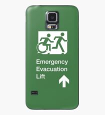 Emergency Evacuation Lift Sign, Right Hand Up Arrow, with the Accessible Means of Egress Icon and Running Man, part of the Accessible Exit Sign Project Case/Skin for Samsung Galaxy