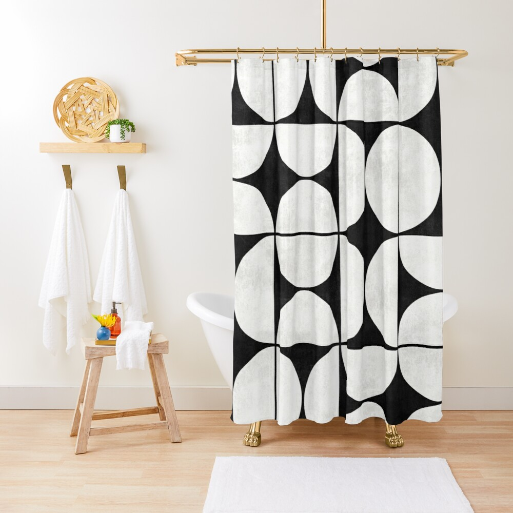 Mid-Century Modern Pattern No.2 - Black and White Concrete Shower Curtain