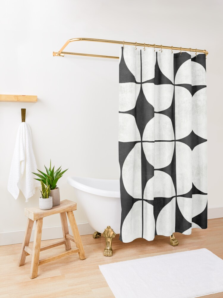 Alternate view of Mid-Century Modern Pattern No.2 - Black and White Concrete Shower Curtain