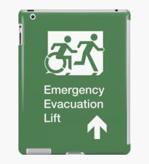 Emergency Evacuation Lift Sign, Right Hand Up Arrow, with the Accessible Means of Egress Icon and Running Man, part of the Accessible Exit Sign Project iPad Case/Skin