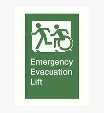 Emergency Evacuation Lift Sign, Left Hand, with the Accessible Means of Egress Icon and Running Man, part of the Accessible Exit Sign Project Art Print