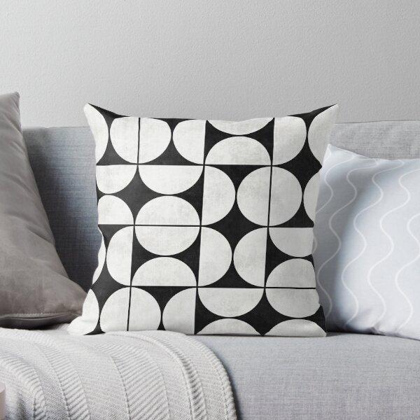 Mid-Century Modern Pattern No.2 - Schwarz-Weiß-Beton Dekokissen