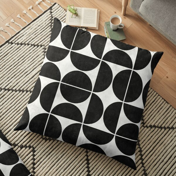 Mid-Century Modern Pattern No.3 - Black and White Concrete Floor Pillow