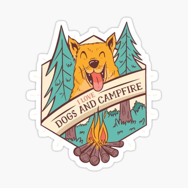 I love Dogs And Campfire Design Sticker