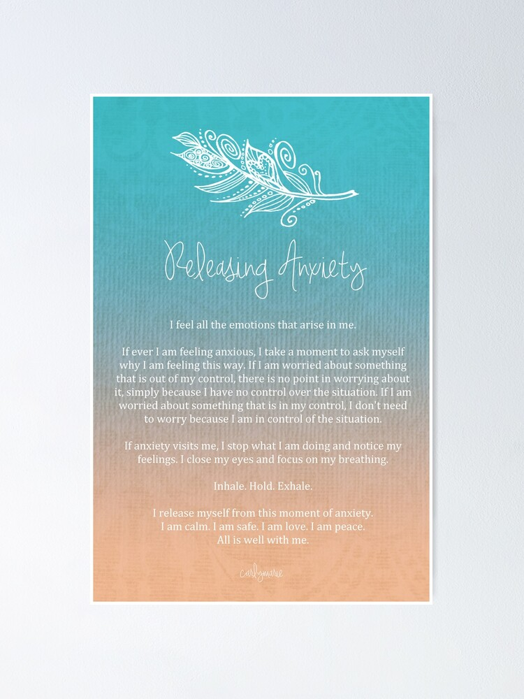 Alternate view of Affirmation - Releasing Anxiety Poster