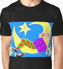 Sleeping On The Moon Surrounded By Stars Graphic T-Shirt