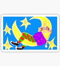 Sleeping On The Moon Surrounded By Stars Sticker