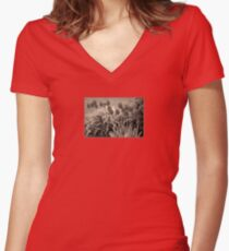 old timey tulips Women's Fitted V-Neck T-Shirt