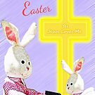 Jesus Loves Me Bunnies w/Bible and Cross  by Terri Chandler