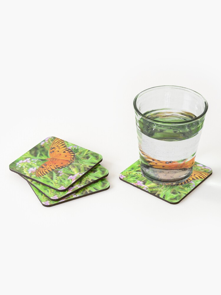 Alternate view of Orange Butterfly Windows From Heaven Coasters (Set of 4)