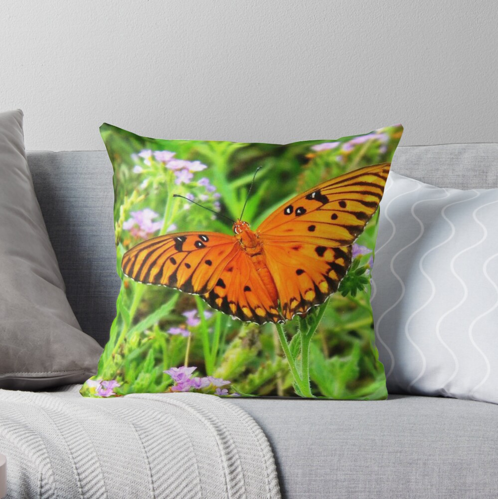 Orange Butterfly Windows From Heaven Throw Pillow