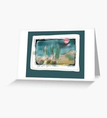 red sun green trees Greeting Card