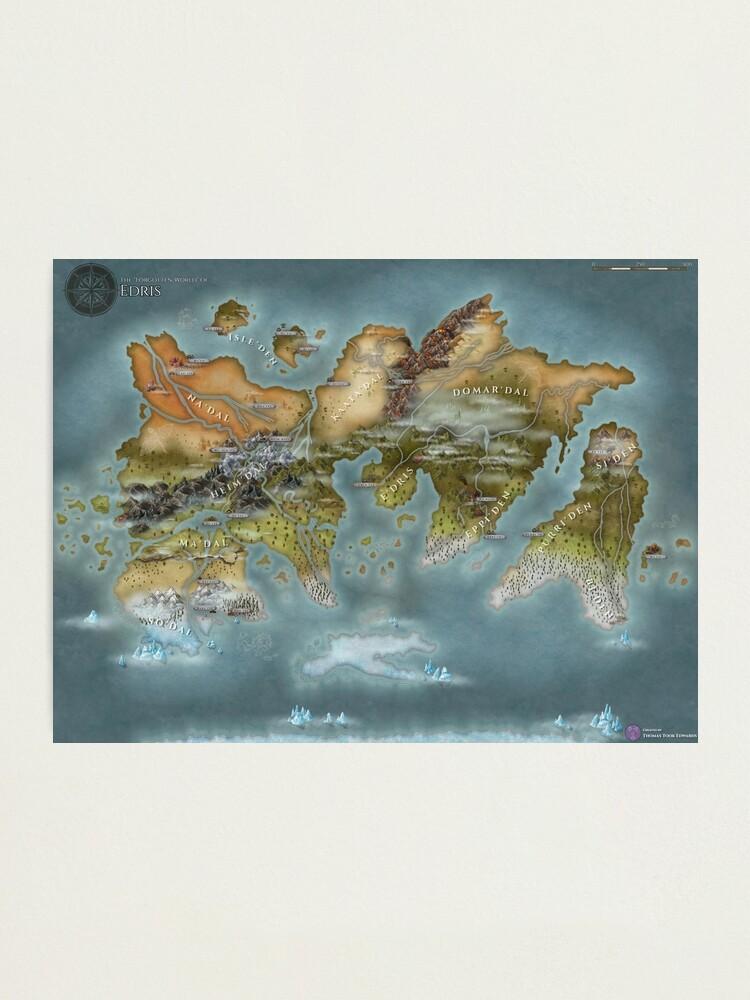 Alternate view of Map of Edris - Remastered Photographic Print