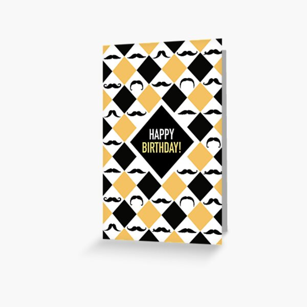 Happy Birthday! Mustaches Black & Yellow Greeting Card