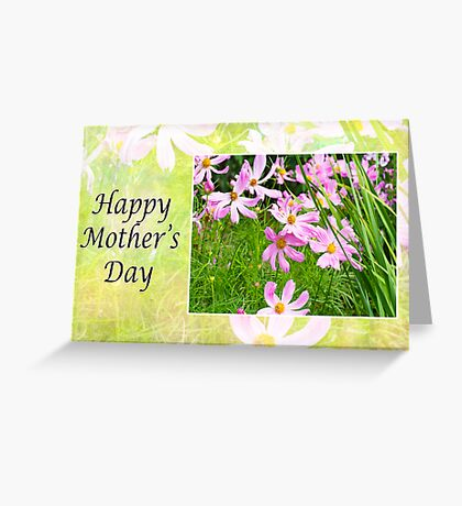 Happy Mother's Day Field Of Pink Cosmos Greeting Card
