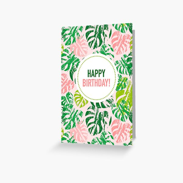 Happy Birthday! Monstera Leaves Pink Greeting Card