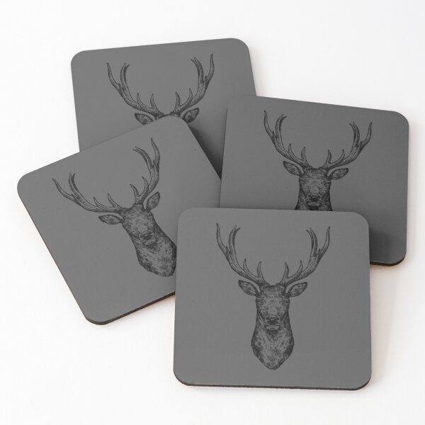 Black Stag Head On Grey Background Coasters (Set of 4)