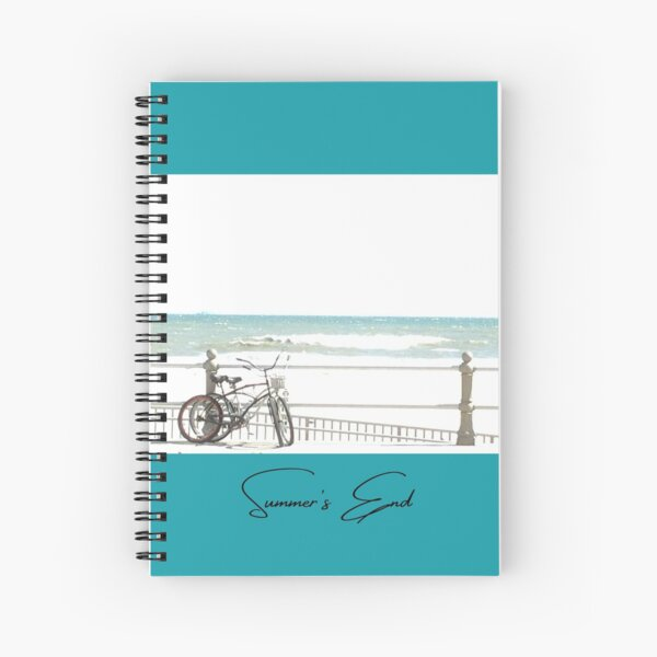 Summer's End - Original Photograph On Bright Turquoise Background - Featuring a Pair of Bikes by the Ocean Boardwalk in Virginia Beach, Virginia Spiral Notebook