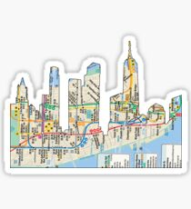 NYC Subway map NYC CIty Skyline including empire state building Sticker