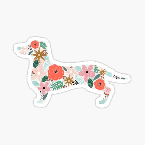 Dachshund Weenie Floral Sticker