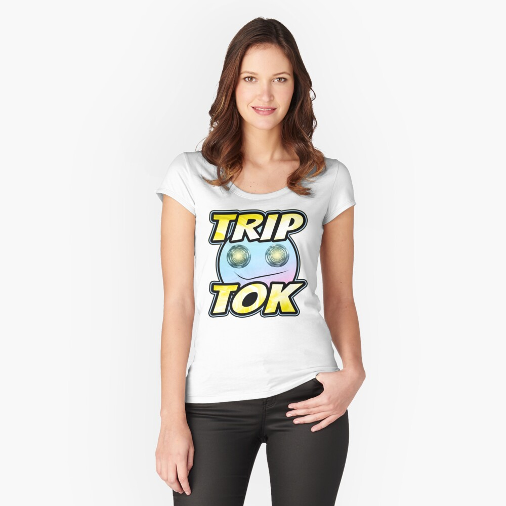 TripTok (The Psychedelic Side Of TikTok • Viral Social Media Meme) Fitted Scoop T-Shirt