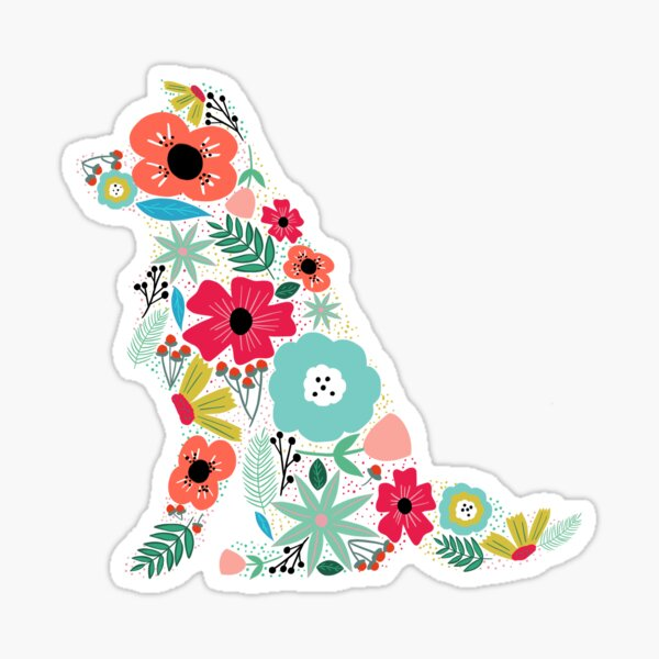 Border Collie Floral Sticker