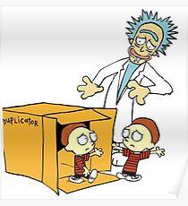 Rick and Morty Calvin and Hobbes mashup Poster