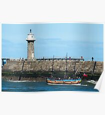 Whitby Pier and Bark Endeavour replica Poster
