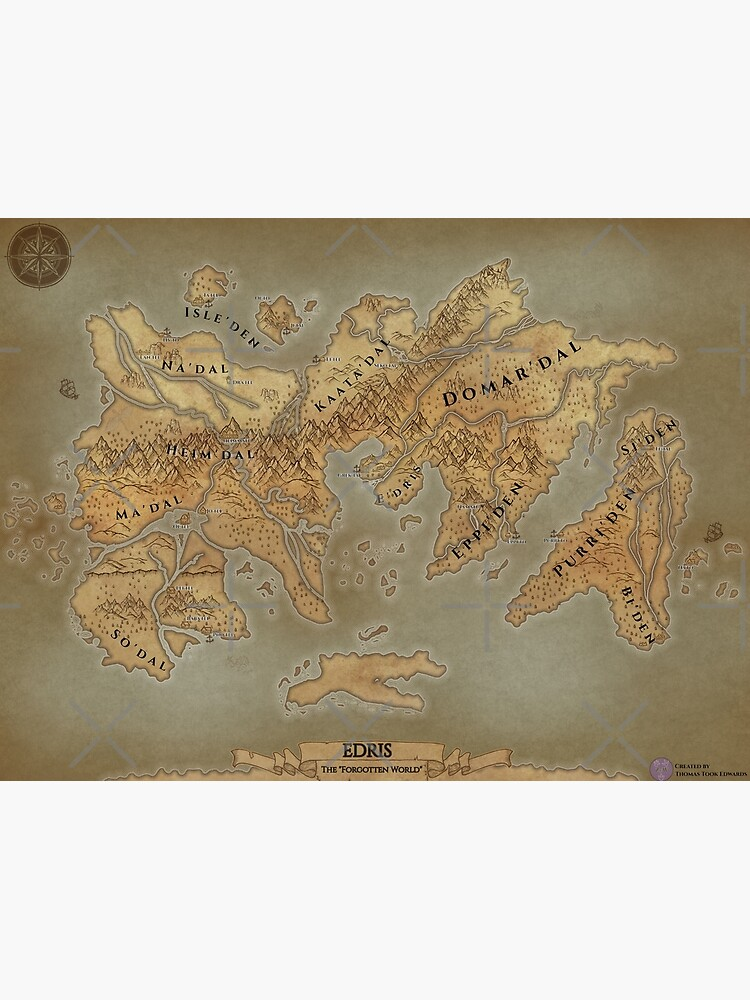 Parchment Map of Edris - Remastered by zuperbuuworks