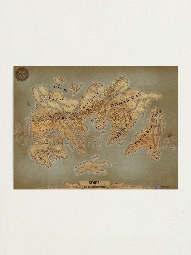 Alternate view of Parchment Map of Edris - Remastered Photographic Print