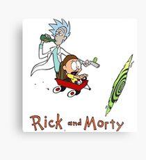 Calvin and Hobbes, Rick and Morty Metal Print