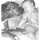 Baby and dog drawing by Mike Theuer