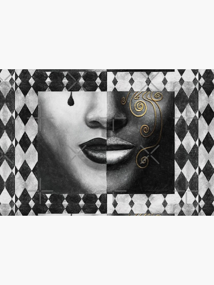 """Duality"" (harlequin, mardi gras, black and white) painting - ""Smile"" Fine Art series by CaraSonrisa"
