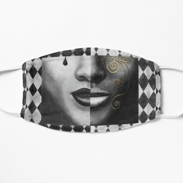 """Duality"" (harlequin, mardi gras, black and white) painting - ""Smile"" Fine Art series Mask"