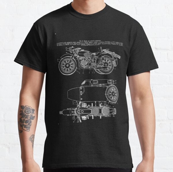 Vintage KMZ Dnepr-12 Motorcycle Diagram (White - Black Background) | Общий Вид Мотоцикла Днепр-12 Classic T-Shirt