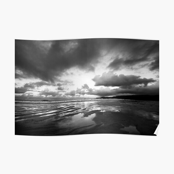 Harlyn Bay in Black and White Poster
