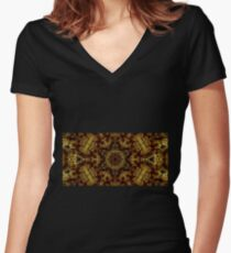Golden Light and Shadow Women's Fitted V-Neck T-Shirt