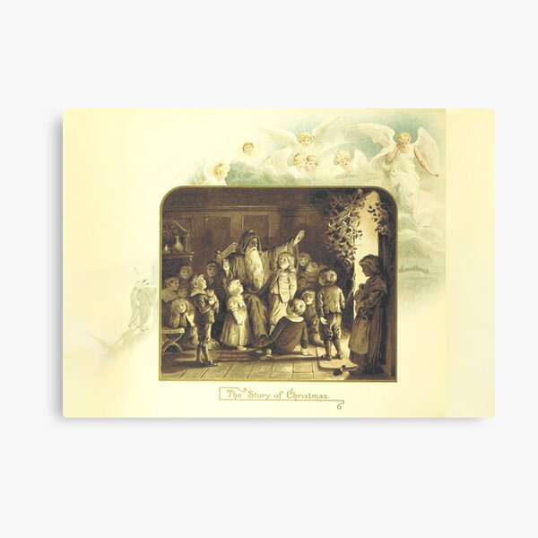 """""""The Story of Christmas"""" Vintage Christmas Card from The Coming of Father Christmas (1894) Canvas Print"""